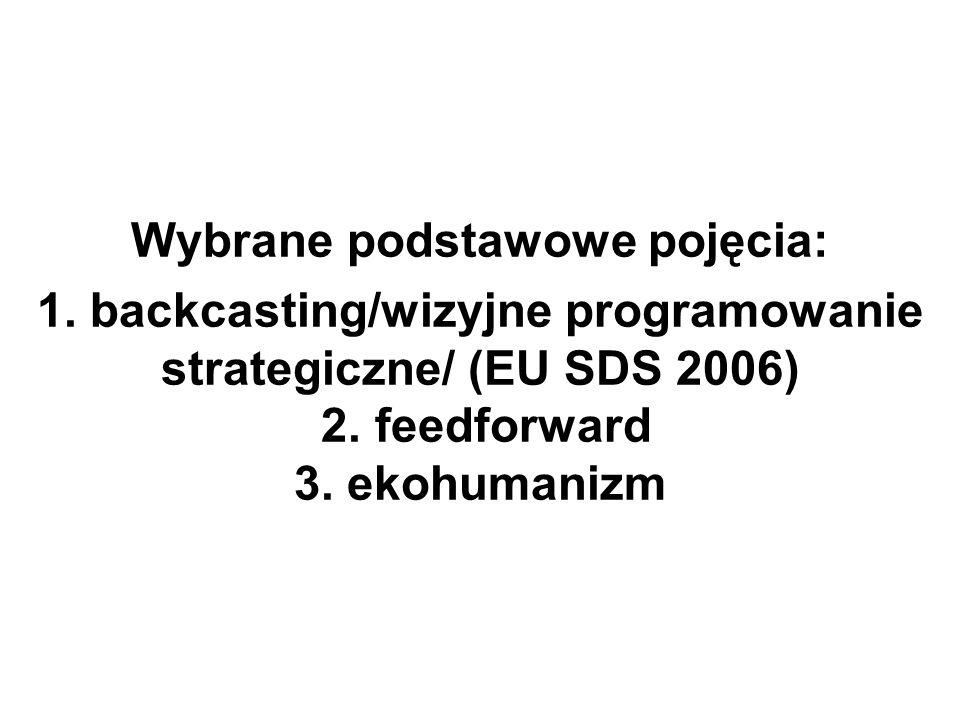 Wybrane podstawowe pojęcia: 1. backcasting/wizyjne programowanie strategiczne/ (EU SDS 2006) 2. feedforward 3. ekohumanizm