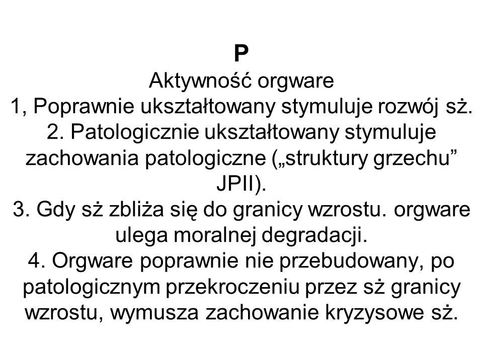 """P Aktywność orgware 1, Poprawnie ukształtowany stymuluje rozwój sż. 2. Patologicznie ukształtowany stymuluje zachowania patologiczne (""""struktury grzec"""