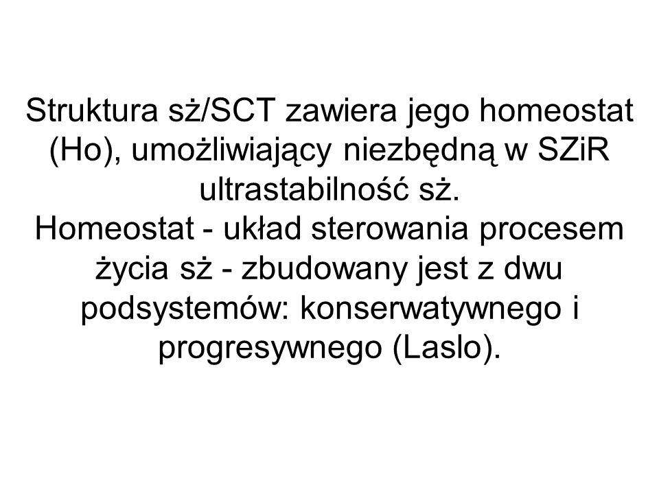 Struktura sż/SCT zawiera jego homeostat (Ho), umożliwiający niezbędną w SZiR ultrastabilność sż. Homeostat - układ sterowania procesem życia sż - zbud