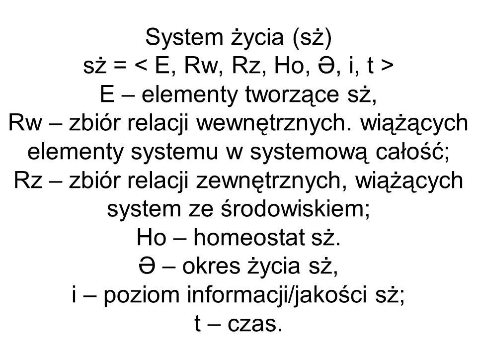 System życia (sż) sż = E – elementy tworzące sż, Rw – zbiór relacji wewnętrznych. wiążących elementy systemu w systemową całość; Rz – zbiór relacji ze