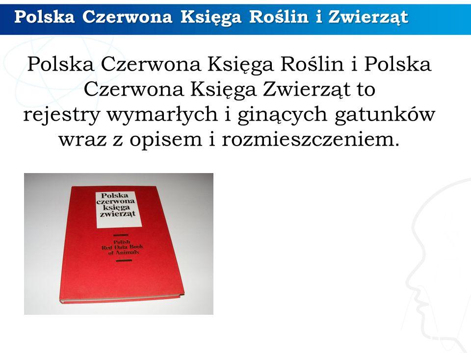 Polska Czerwona Księga Roślin i Zwierząt 11 Polska Czerwona Księga Roślin i Polska Czerwona Księga Zwierząt to rejestry wymarłych i ginących gatunków wraz z opisem i rozmieszczeniem.