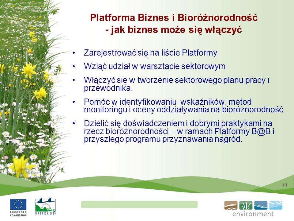 11 Platforma Biznes i Bioróżnorodność - jak biznes może się włączyć Zarejestrować się na liście Platformy Wziąć udział w warsztacie sektorowym Włączyć