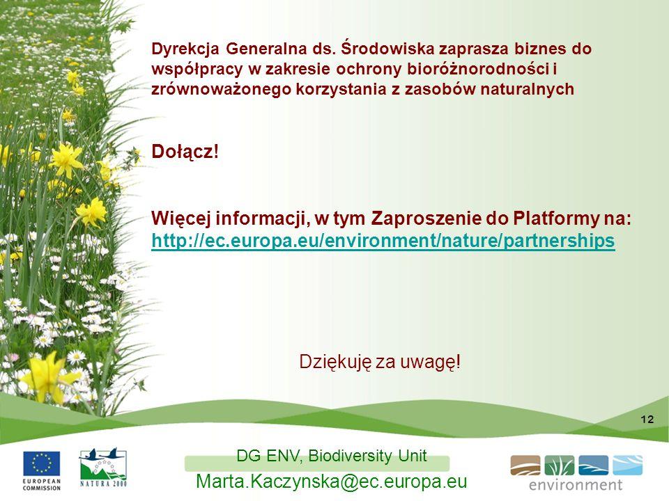 12 Dyrekcja Generalna ds. Środowiska zaprasza biznes do współpracy w zakresie ochrony bioróżnorodności i zrównoważonego korzystania z zasobów naturaln