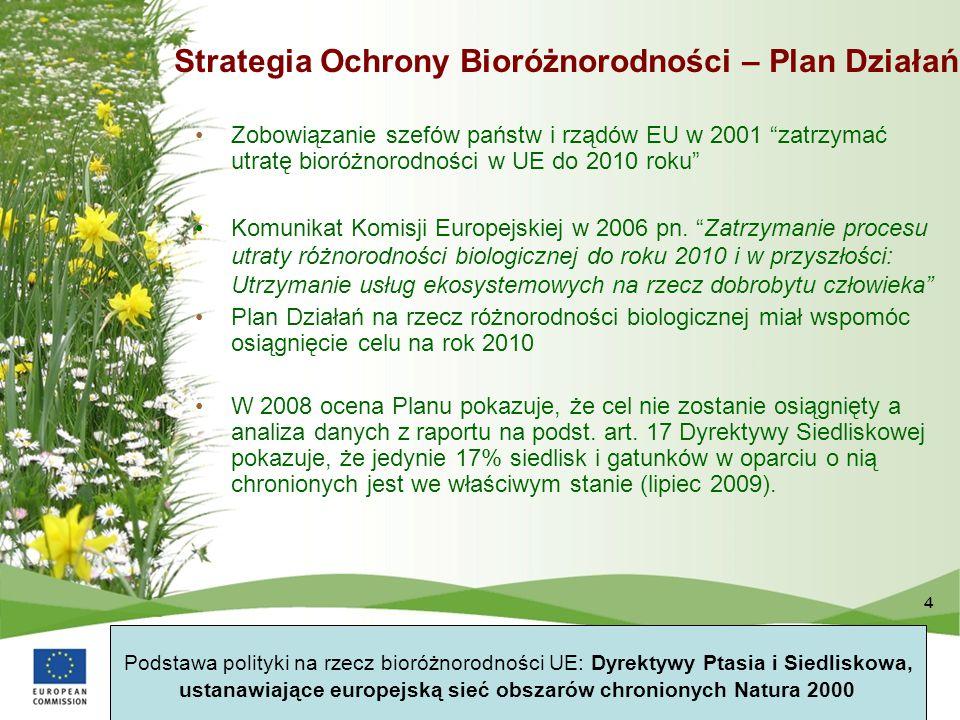 """4 Strategia Ochrony Bioróżnorodności – Plan Działań Zobowiązanie szefów państw i rządów EU w 2001 """"zatrzymać utratę bioróżnorodności w UE do 2010 roku"""