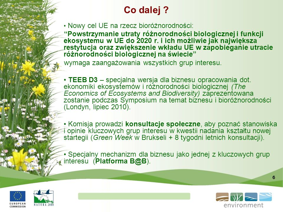 """6 Co dalej ? Nowy cel UE na rzecz bioróżnorodności: """"Powstrzymanie utraty różnorodności biologicznej i funkcji ekosystemu w UE do 2020 r. i ich możliw"""