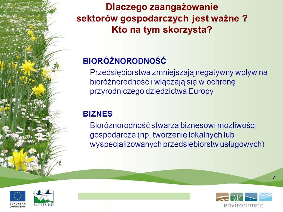 7 BIORÓŻNORODNOŚĆ Przedsiębiorstwa zmniejszają negatywny wpływ na bioróżnorodność i włączają się w ochronę przyrodniczego dziedzictwa Europy BIZNES Bi