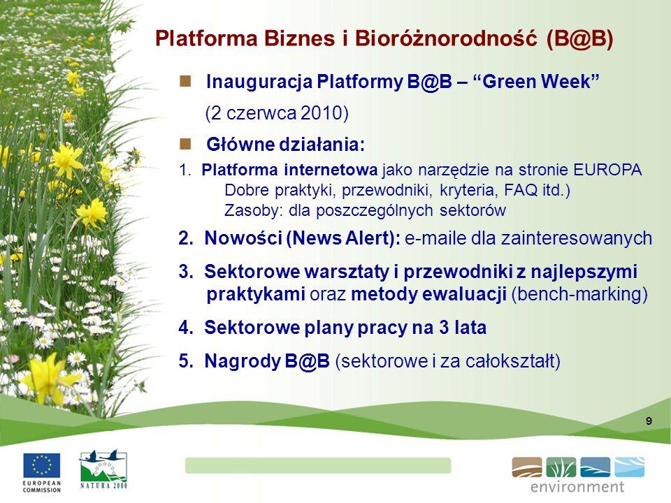 """9 Platforma Biznes i Bioróżnorodność (B@B) Inauguracja Platformy B@B – """"Green Week"""" (2 czerwca 2010) Główne działania: 1. Platforma internetowa jako n"""