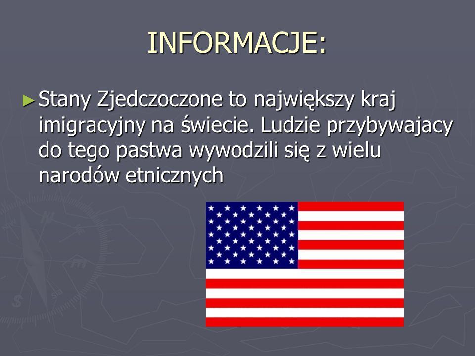 SYMBOL NARODOWY: ► Flaga: Na górnym lewym rogu fagi Stanów Zjednoczonych na granatowym tle znajduje się 50 białych gwiazdek symbolizujących 50 stanów tego kraju.