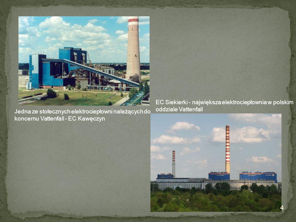 Jedna ze stołecznych elektrociepłowni należących do koncernu Vattenfall - EC Kawęczyn EC Siekierki - największa elektrociepłownia w polskim oddziale V