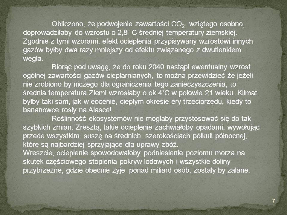 Obliczono, że podwojenie zawartości CO 2 wziętego osobno, doprowadziłaby do wzrostu o 2,8˚ C średniej temperatury ziemskiej. Zgodnie z tymi wzorami, e