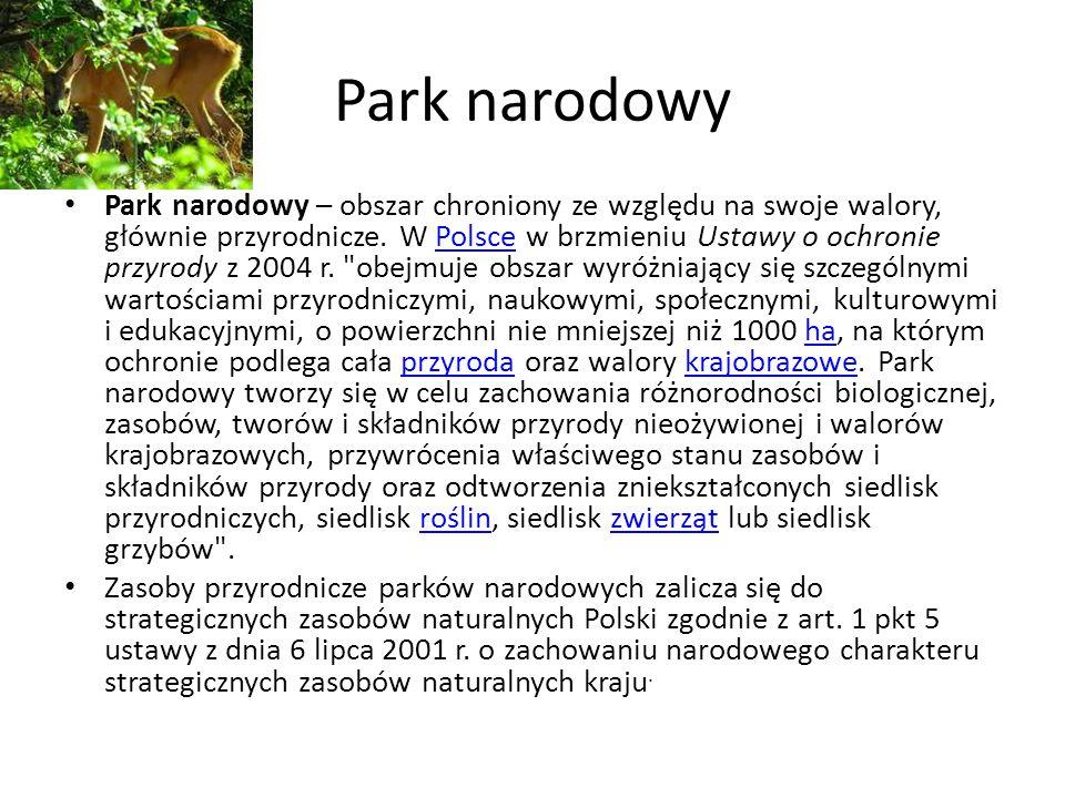 Park narodowy Park narodowy – obszar chroniony ze względu na swoje walory, głównie przyrodnicze. W Polsce w brzmieniu Ustawy o ochronie przyrody z 200