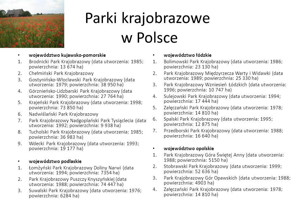 Parki krajobrazowe w Polsce województwo kujawsko-pomorskie 1.Brodnicki Park Krajobrazowy (data utworzenia: 1985; powierzchnia: 13 674 ha) 2.Chełmiński