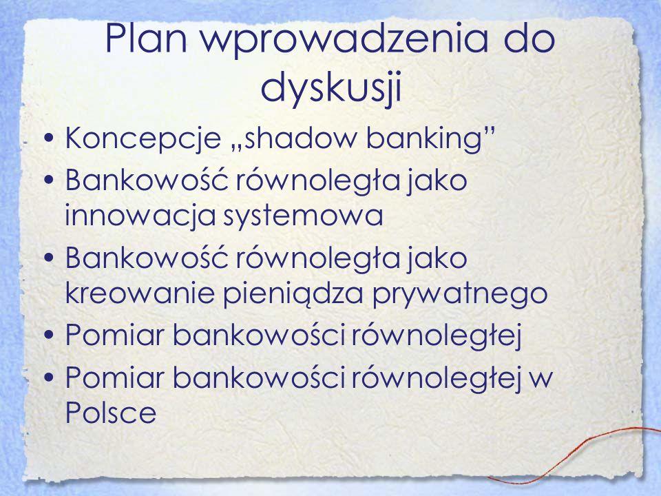 Koncepcje bankowości równoległej Czarna skrzynka-koszty zewnętrzne Pokusa nadużyć-parabanki Góra lodowa-niebankowe instytucje finansowe Ekosystem finansowy- rynek hurtowy i rynek detaliczny Swoi- obcy