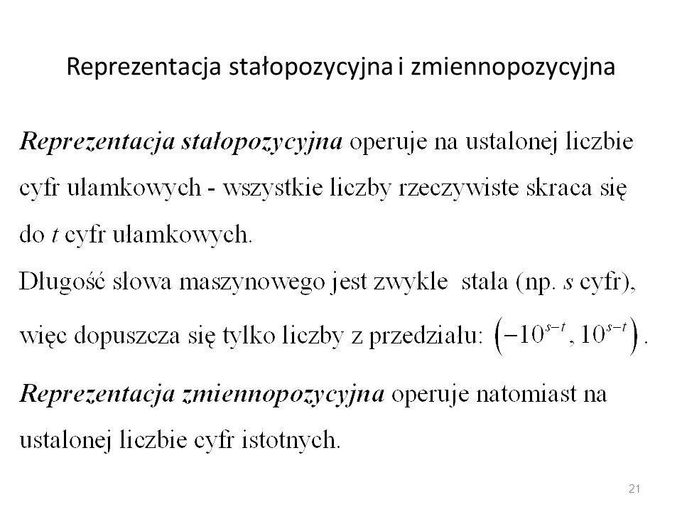 Reprezentacja stałopozycyjna i zmiennopozycyjna 21