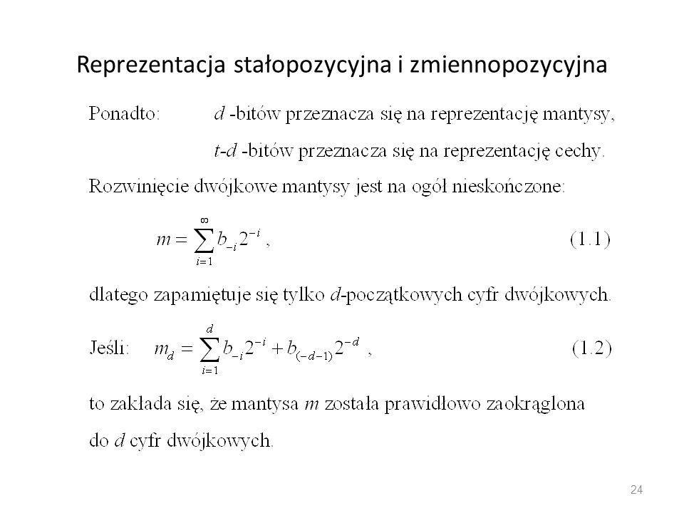 Reprezentacja stałopozycyjna i zmiennopozycyjna 24