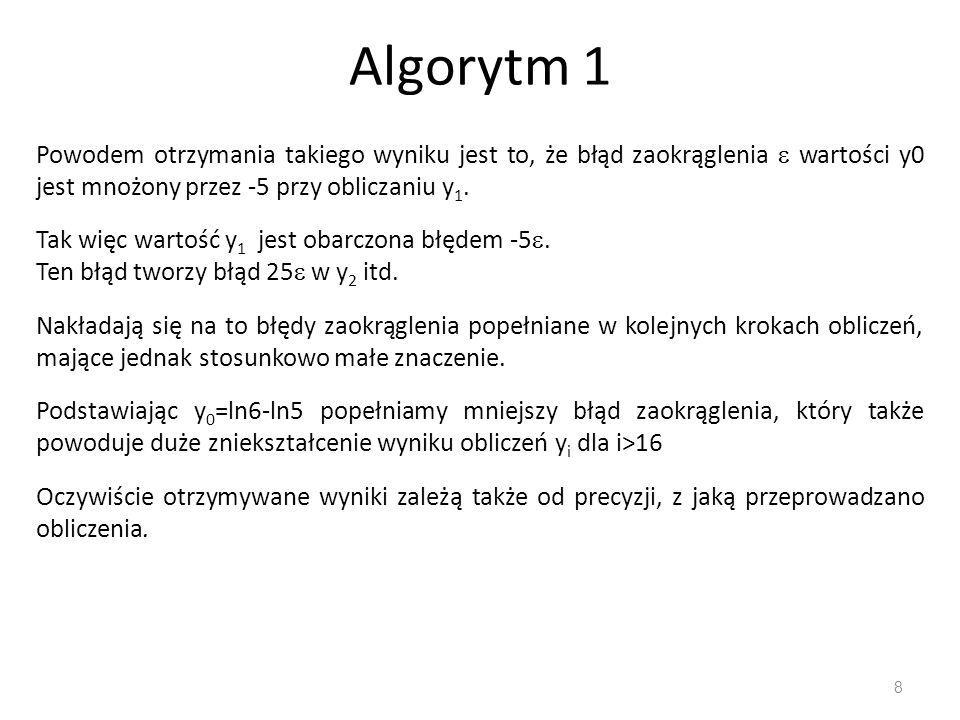 Algorytm 1 8 Powodem otrzymania takiego wyniku jest to, że błąd zaokrąglenia  wartości y0 jest mnożony przez -5 przy obliczaniu y 1.