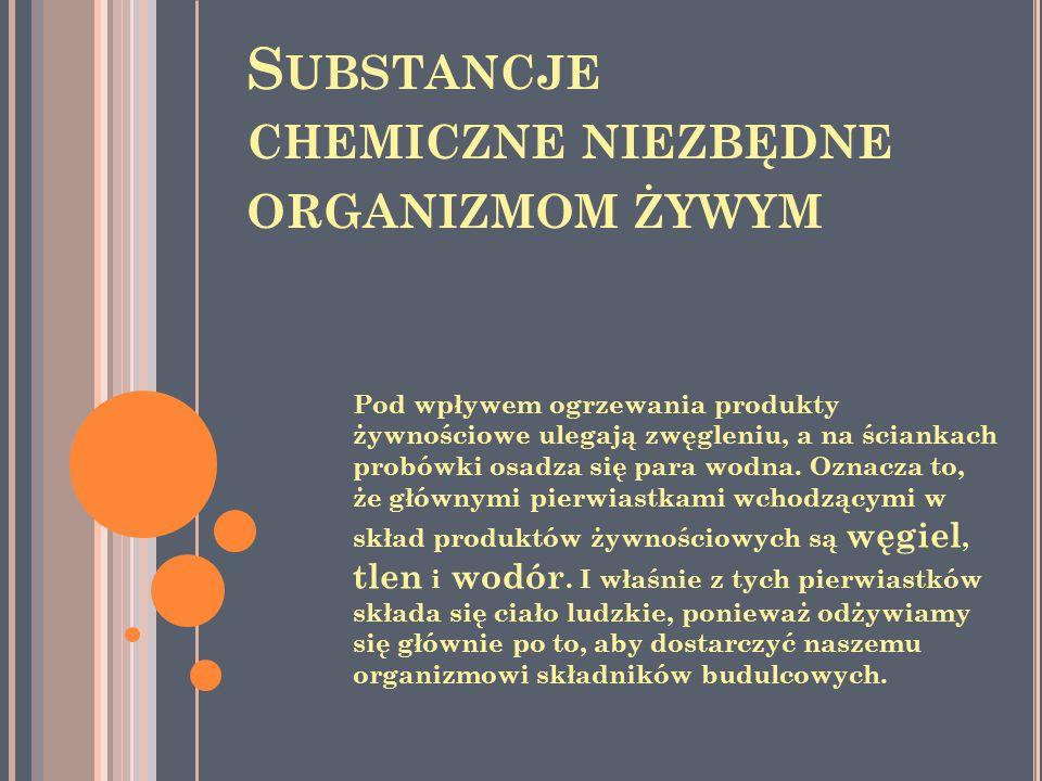 S UBSTANCJE CHEMICZNE NIEZBĘDNE ORGANIZMOM ŻYWYM Pod wpływem ogrzewania produkty żywnościowe ulegają zwęgleniu, a na ściankach probówki osadza się par