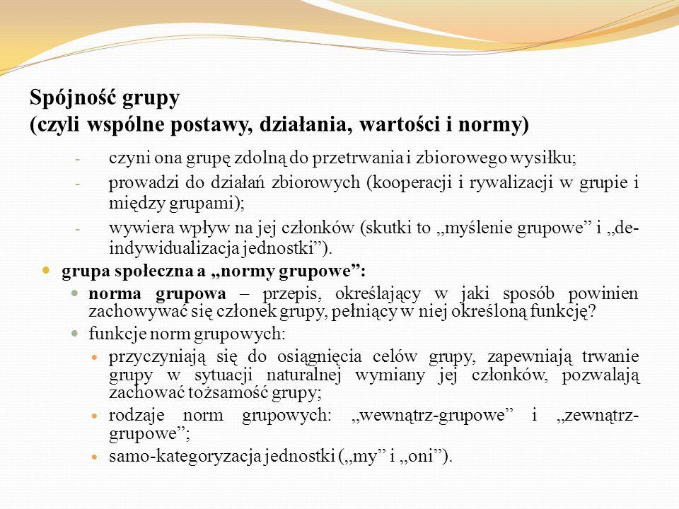 Spójność grupy (czyli wspólne postawy, działania, wartości i normy) - czyni ona grupę zdolną do przetrwania i zbiorowego wysiłku; - prowadzi do działa