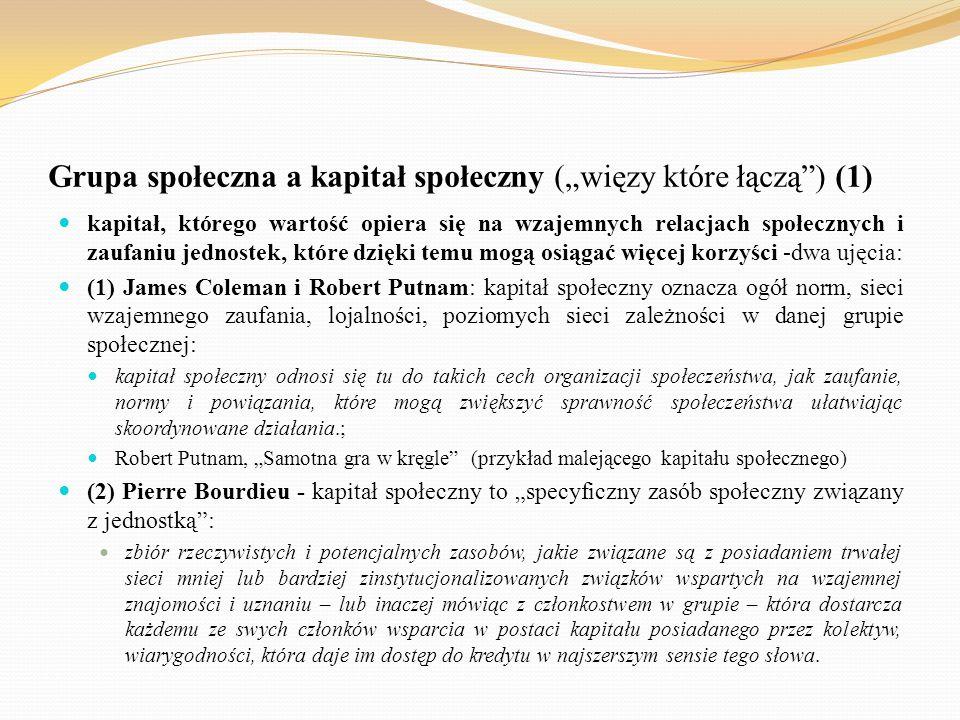 """Grupa społeczna a kapitał społeczny (""""więzy które łączą"""") (1) kapitał, którego wartość opiera się na wzajemnych relacjach społecznych i zaufaniu jedno"""