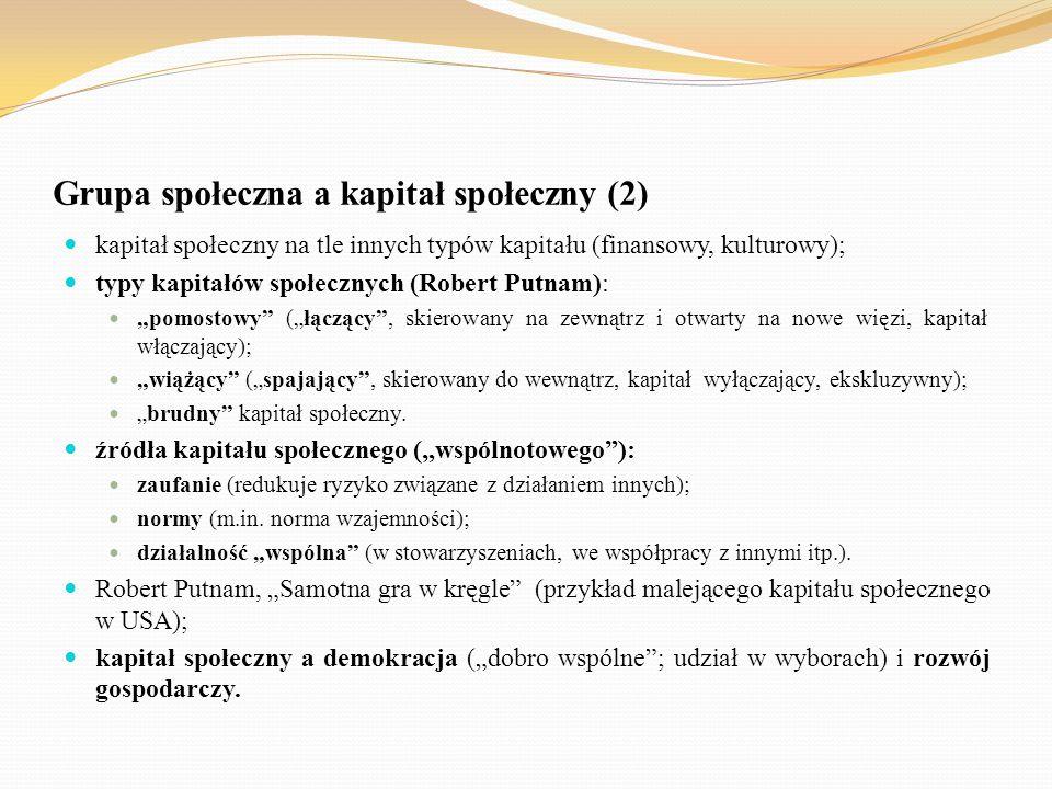 Grupa społeczna a kapitał społeczny (2) kapitał społeczny na tle innych typów kapitału (finansowy, kulturowy); typy kapitałów społecznych (Robert Putn