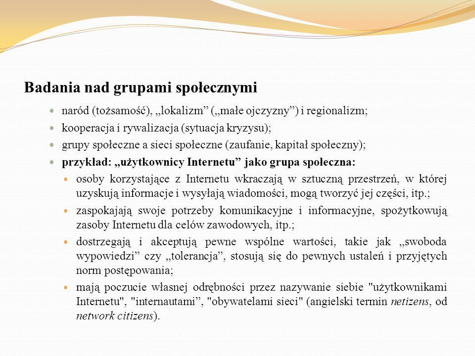 """Badania nad grupami społecznymi naród (tożsamość), """"lokalizm"""" (""""małe ojczyzny"""") i regionalizm; kooperacja i rywalizacja (sytuacja kryzysu); grupy społ"""