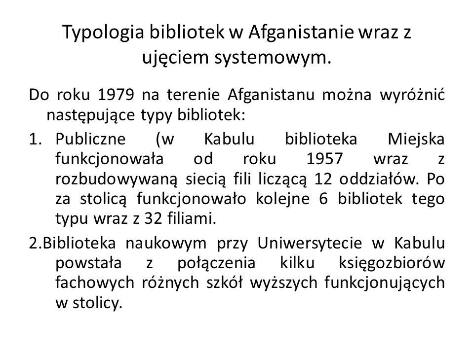 Typologia bibliotek w Afganistanie wraz z ujęciem systemowym.