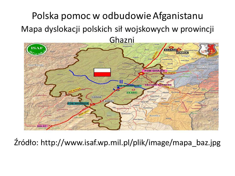 Polska pomoc w odbudowie Afganistanu Mapa dyslokacji polskich sił wojskowych w prowincji Ghazni Źródło: http://www.isaf.wp.mil.pl/plik/image/mapa_baz.jpg