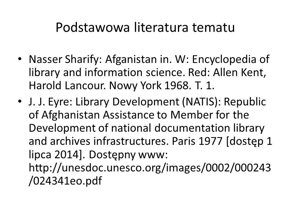 Podstawowa literatura tematu Nasser Sharify: Afganistan in.