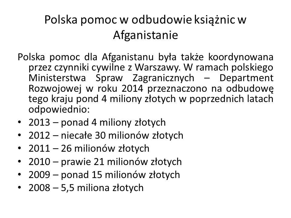 Polska pomoc w odbudowie książnic w Afganistanie Polska pomoc dla Afganistanu była także koordynowana przez czynniki cywilne z Warszawy.