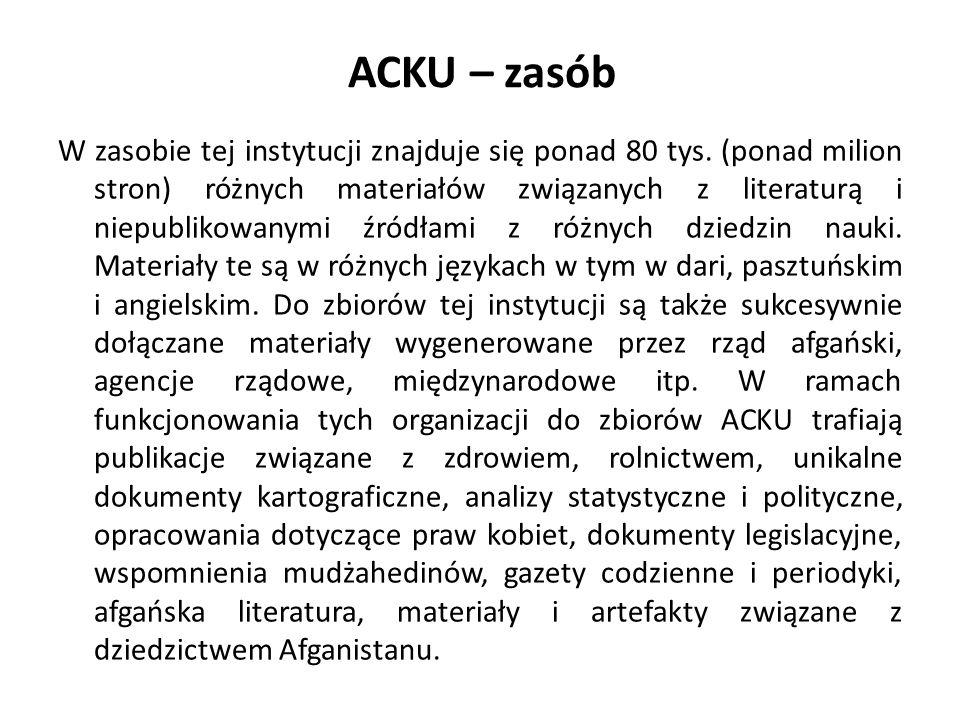 ACKU – zasób W zasobie tej instytucji znajduje się ponad 80 tys.
