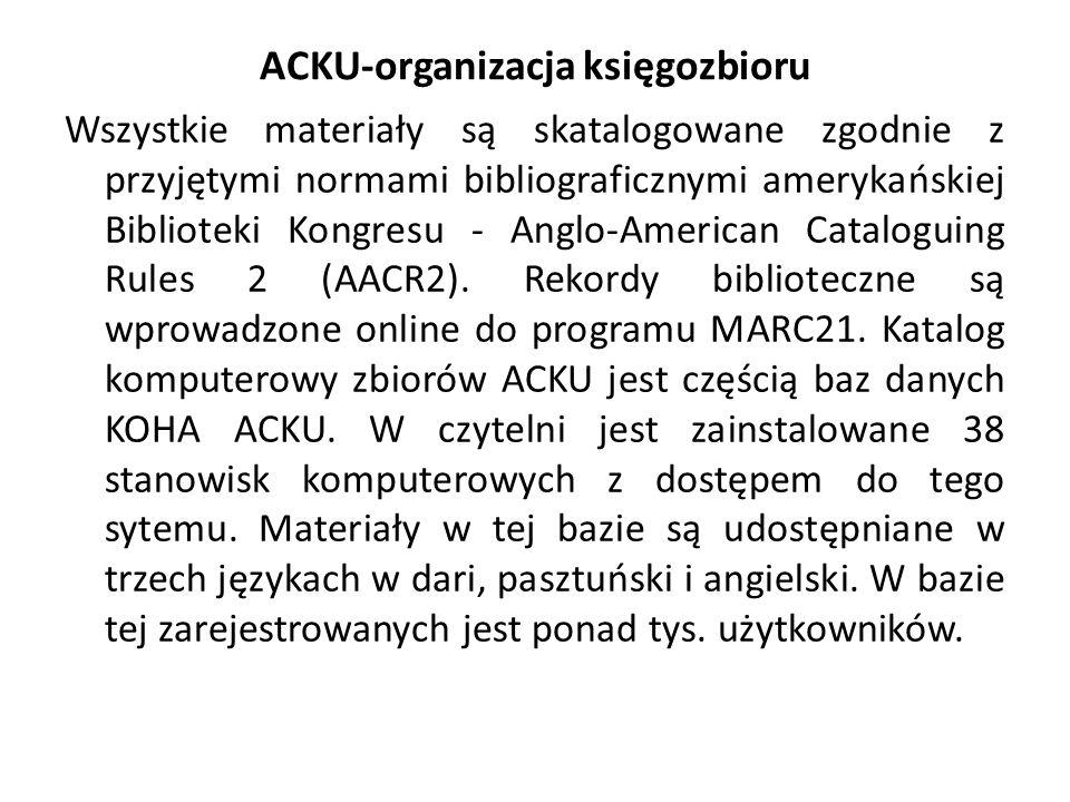 ACKU-organizacja księgozbioru Wszystkie materiały są skatalogowane zgodnie z przyjętymi normami bibliograficznymi amerykańskiej Biblioteki Kongresu - Anglo-American Cataloguing Rules 2 (AACR2).