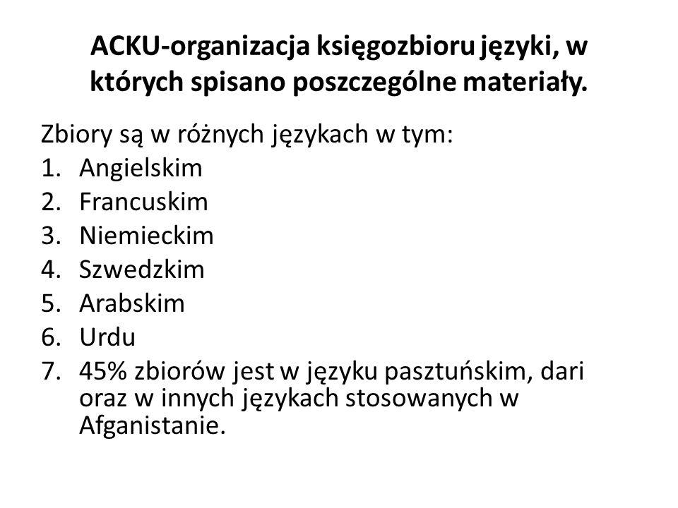 ACKU-organizacja księgozbioru języki, w których spisano poszczególne materiały.