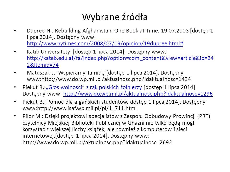 Wybrane źródła Dupree N.: Rebuilding Afghanistan, One Book at Time.