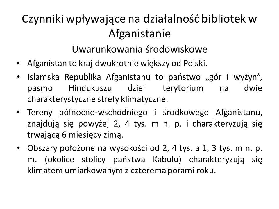 Czynniki wpływające na działalność bibliotek w Afganistanie Uwarunkowania środowiskowe Afganistan to kraj dwukrotnie większy od Polski.