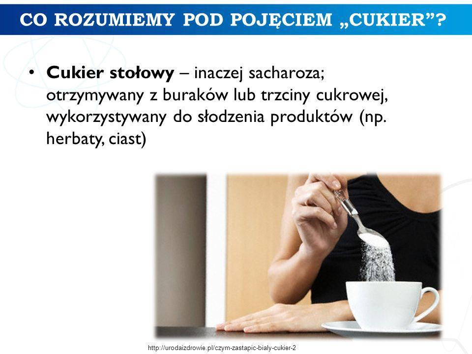 """CO ROZUMIEMY POD POJĘCIEM """"CUKIER""""? Cukier stołowy – inaczej sacharoza; otrzymywany z buraków lub trzciny cukrowej, wykorzystywany do słodzenia produk"""