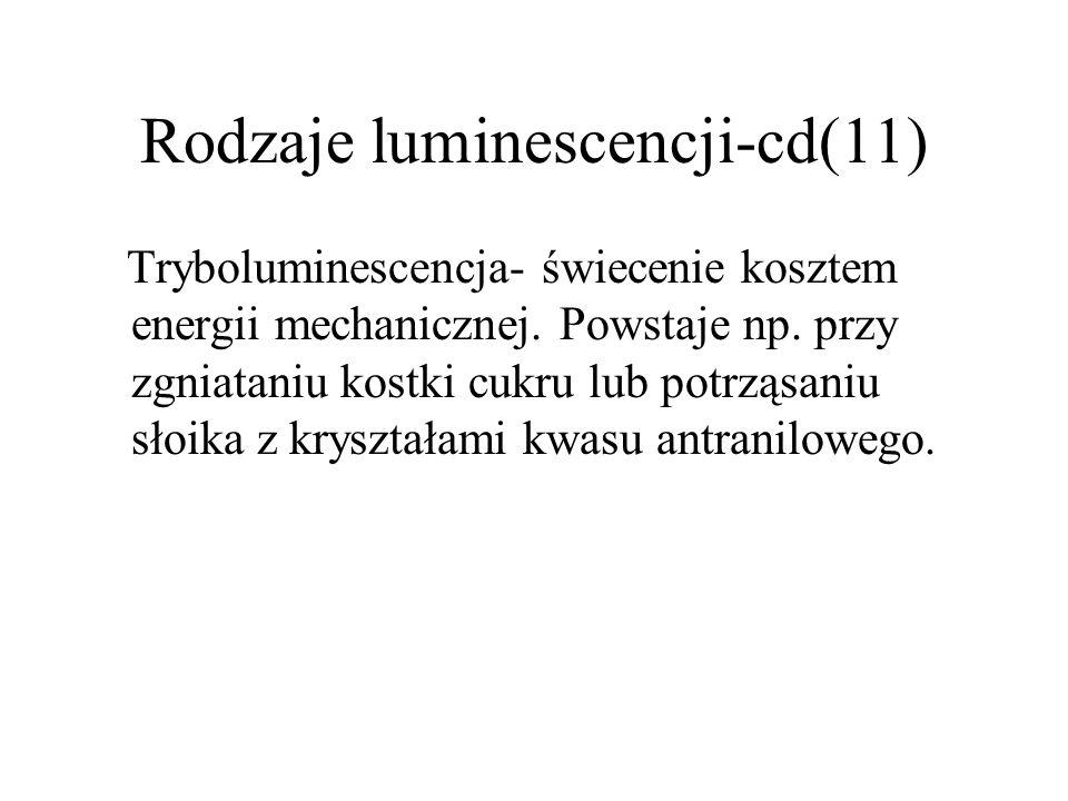 Rodzaje luminescencji-cd(10) Radioluminescencja- luminescencja wywołana przez promieniowanie , ,  lub promieniowanie kosmiczne a także fragmenty rozszczepień jąder atomowych.