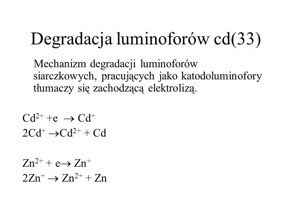 Degradacja luminoforów siarczkowych(32) Luminofory siarczkowe charakteryzują się dużą wydajnością świetlną, jednakże nie są zbyt odporne na bombardowanie elektronowe i jonowe.