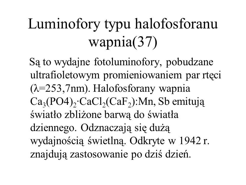 Luminofory selenkowe(36) Oparte o głównie o selenek cynku ZnSe oraz kadmu CdSe są elektroluminoforami.