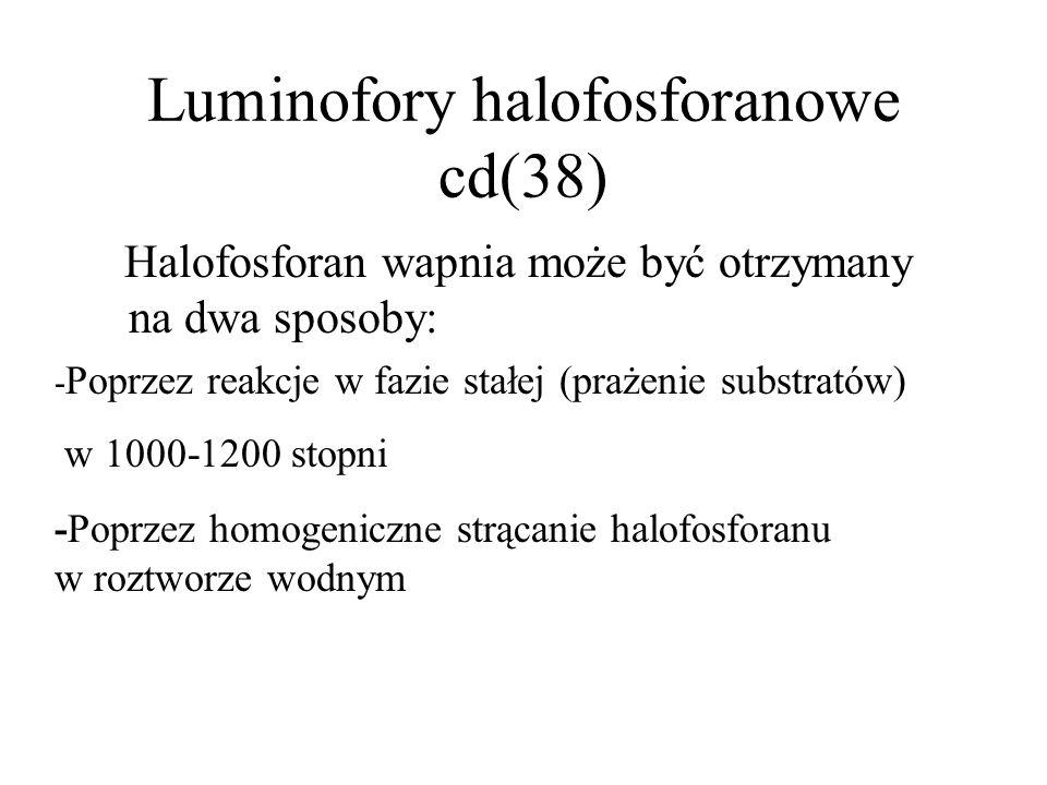 Luminofory typu halofosforanu wapnia(37) Są to wydajne fotoluminofory, pobudzane ultrafioletowym promieniowaniem par rtęci (λ=253,7nm). Halofosforany