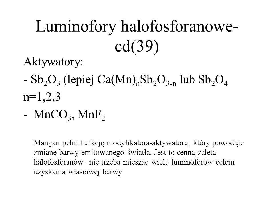 Luminofory halofosforanowe cd(38) Halofosforan wapnia może być otrzymany na dwa sposoby: - Poprzez reakcje w fazie stałej (prażenie substratów) w 1000-1200 stopni -Poprzez homogeniczne strącanie halofosforanu w roztworze wodnym