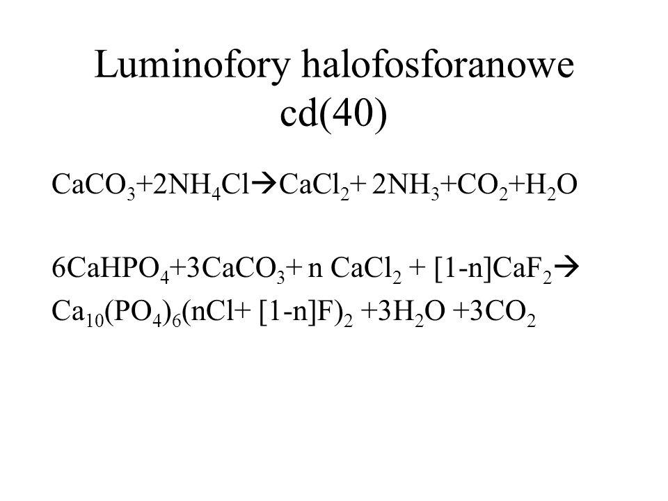 Luminofory halofosforanowe- cd(39) Aktywatory: - Sb 2 O 3 (lepiej Ca(Mn) n Sb 2 O 3-n lub Sb 2 O 4 n=1,2,3 -MnCO 3, MnF 2 Mangan pełni funkcję modyfikatora-aktywatora, który powoduje zmianę barwy emitowanego światła.