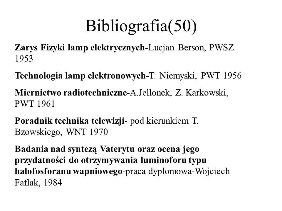Ważne pojęcia- c.d(49) Wydajność świetlna-stosunek luminancji luminoforu badanego do jaskrawości wzorca razy 100%. Jednostką luminancji jest kandela n