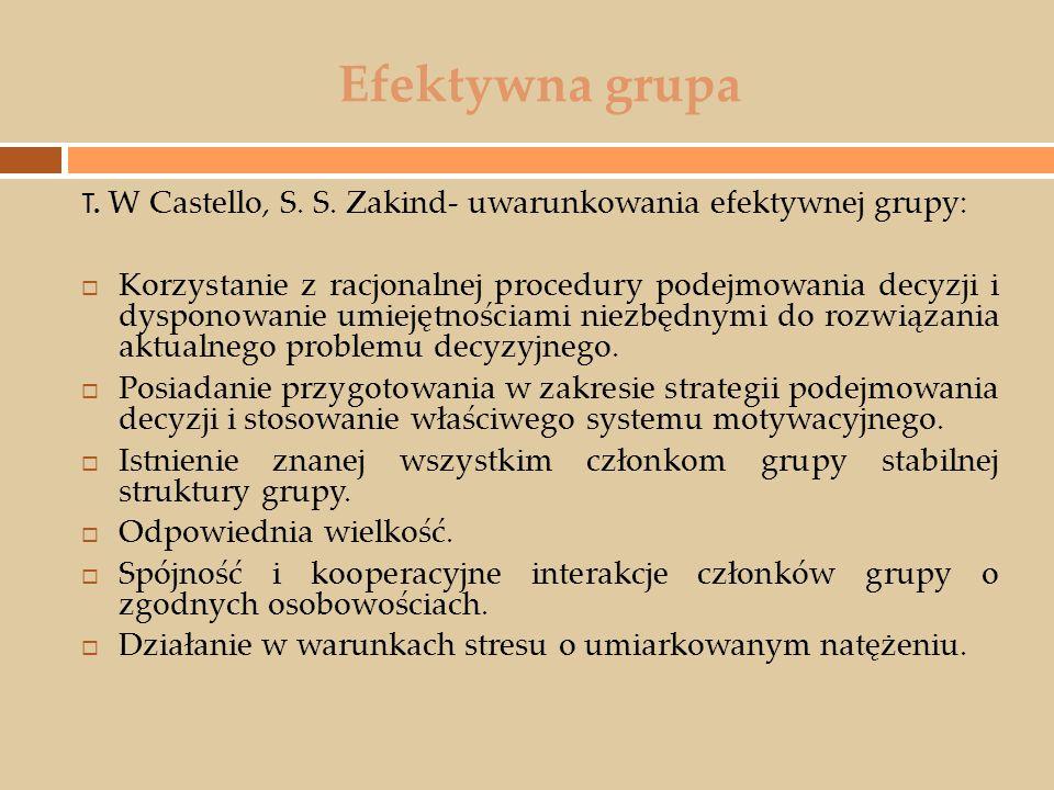 Efektywna grupa T. W Castello, S. S. Zakind- uwarunkowania efektywnej grupy:  Korzystanie z racjonalnej procedury podejmowania decyzji i dysponowanie