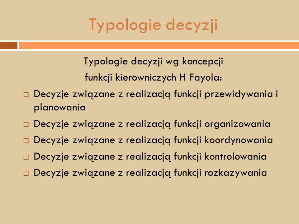 Typologie decyzji Typologie decyzji wg koncepcji funkcji kierowniczych H Fayola:  Decyzje związane z realizacją funkcji przewidywania i planowania 