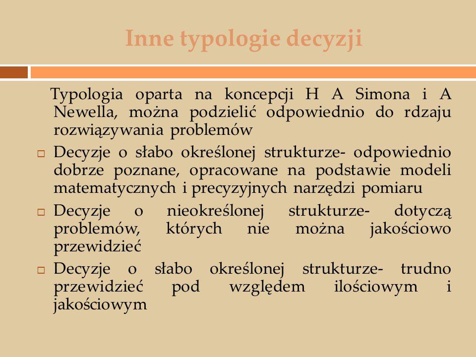 Inne typologie decyzji Typologia oparta na koncepcji H A Simona i A Newella, można podzielić odpowiednio do rdzaju rozwiązywania problemów  Decyzje o