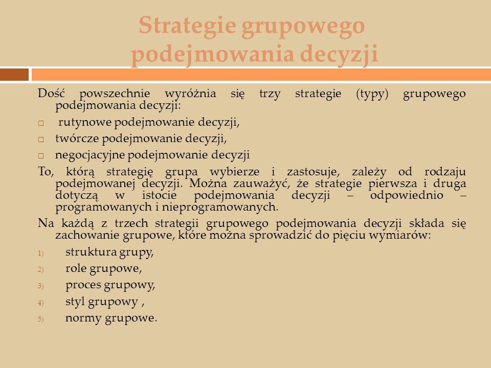 Strategie grupowego podejmowania decyzji Dość powszechnie wyróżnia się trzy strategie (typy) grupowego podejmowania decyzji:  rutynowe podejmowanie d