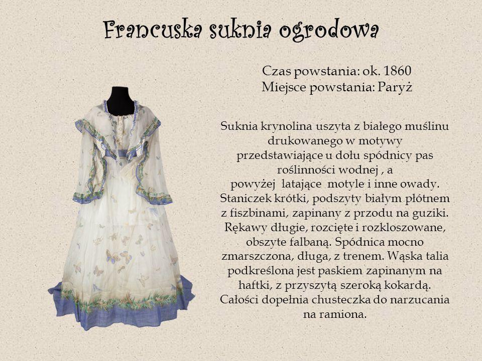 Francuska suknia ogrodowa Czas powstania: ok. 1860 Miejsce powstania: Paryż Suknia krynolina uszyta z białego muślinu drukowanego w motywy przedstawia