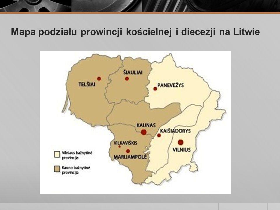 Mapa podziału prowincji kościelnej i diecezji na Litwie