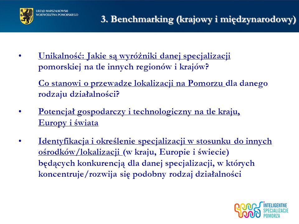 3. Benchmarking (krajowy i międzynarodowy) Unikalność: Jakie są wyróżniki danej specjalizacji pomorskiej na tle innych regionów i krajów? Co stanowi o