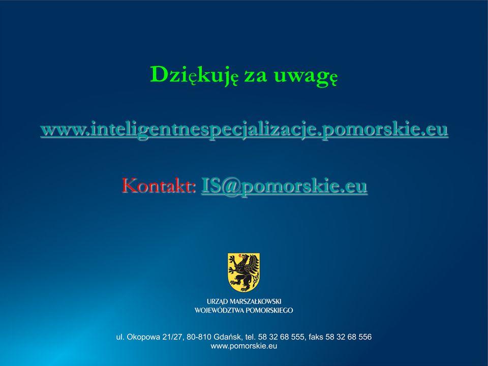 Dzi ę kuj ę za uwag ę www.inteligentnespecjalizacje.pomorskie.eu Kontakt: IS@pomorskie.eu IS@pomorskie.eu